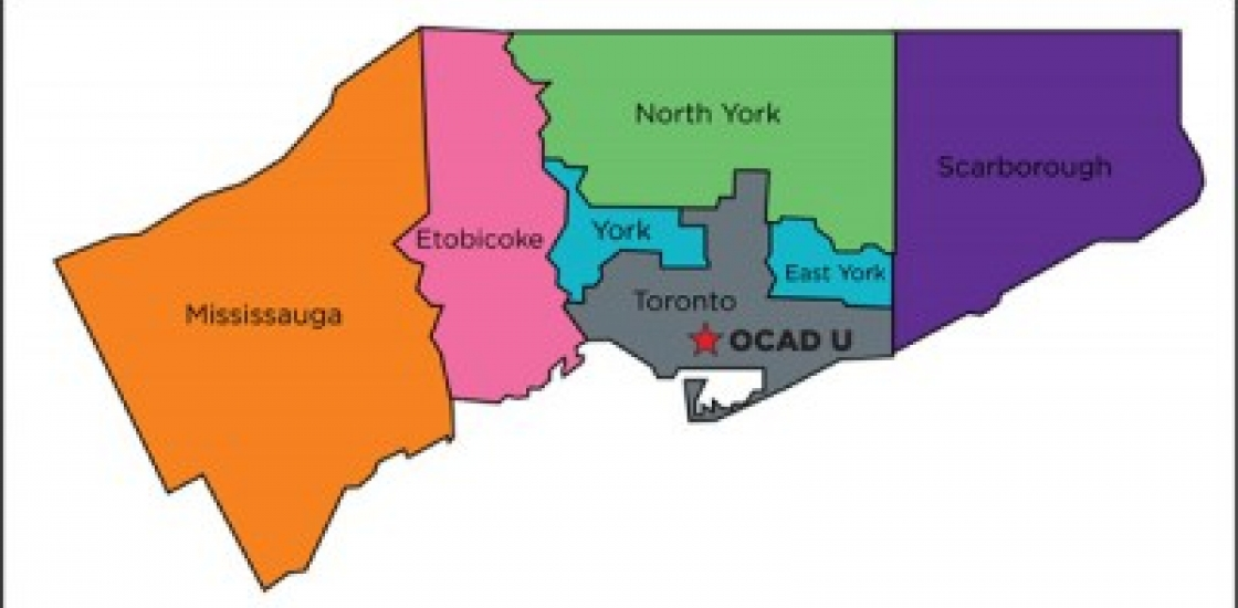 Colourful map of the Greater Toronto Area