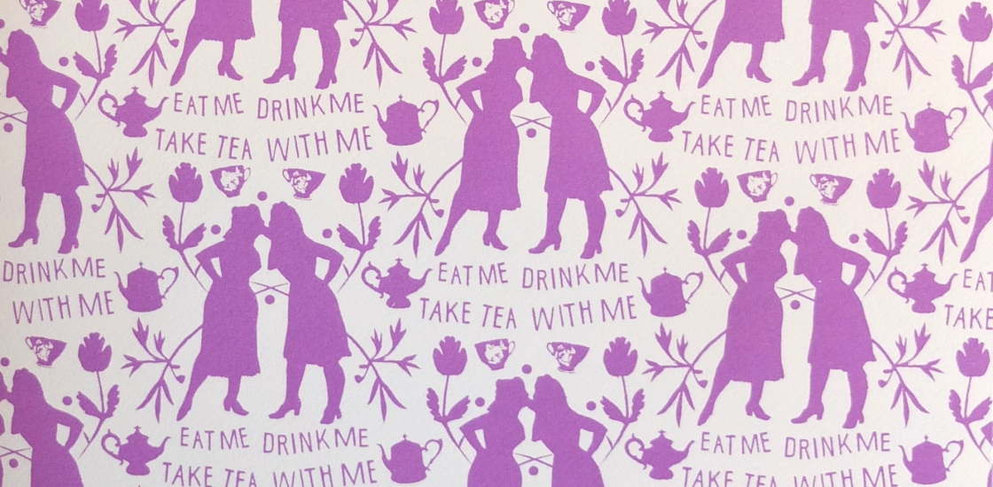 repeat pattern silhouette of two women and text