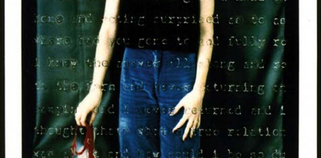image of a female holding red shoes with text overlay