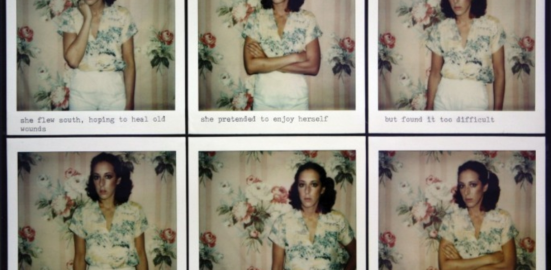 series of images of a female in poses with associated text