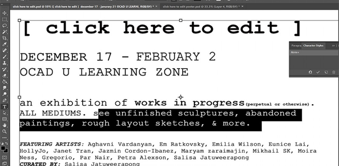 """[click here to edit]"" Exhibition poster with a screen shot image of text edited in a design application"