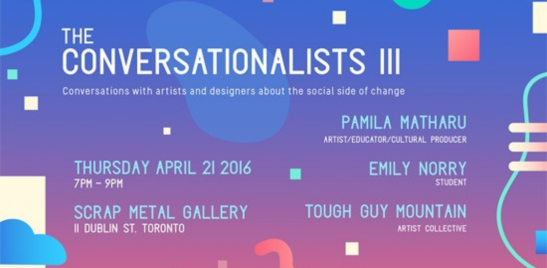 Poster for the Conversationalists III, text on pastel background with coloured shapes