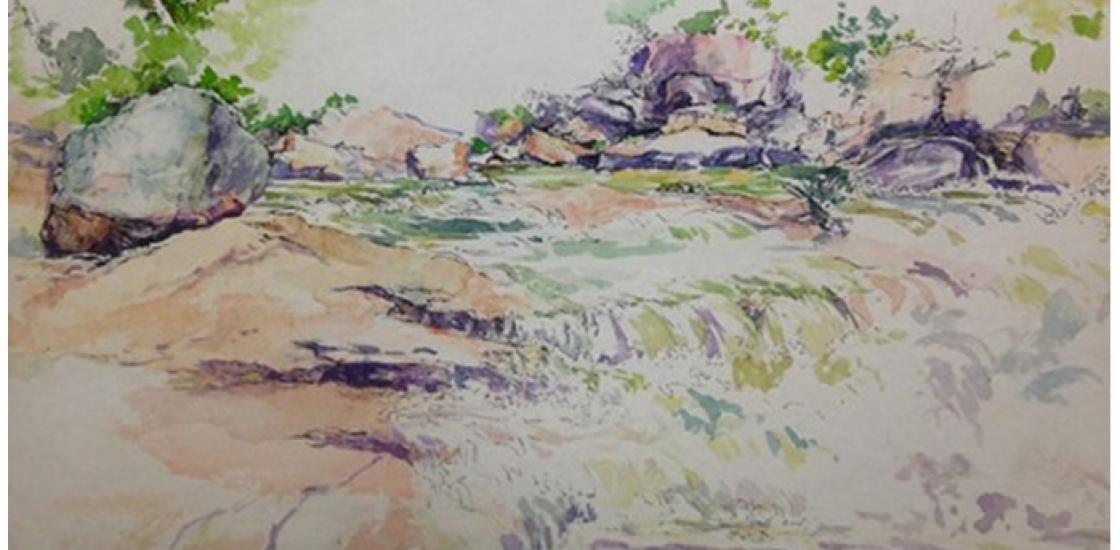 Watercolour painting of landscape