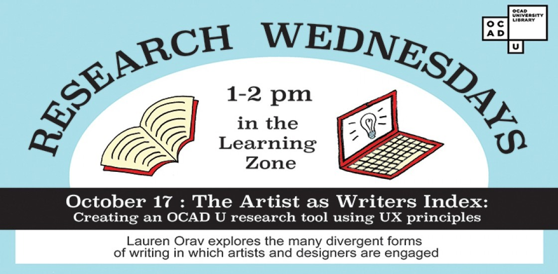 Research Wednesdays, 1 to 2pm in the Learning Zone, October 17: The Artist as Writers Index
