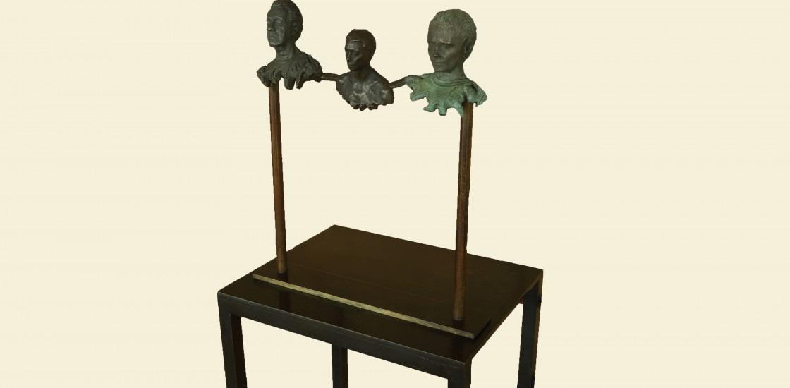 figurative scultpural bronze, three heads