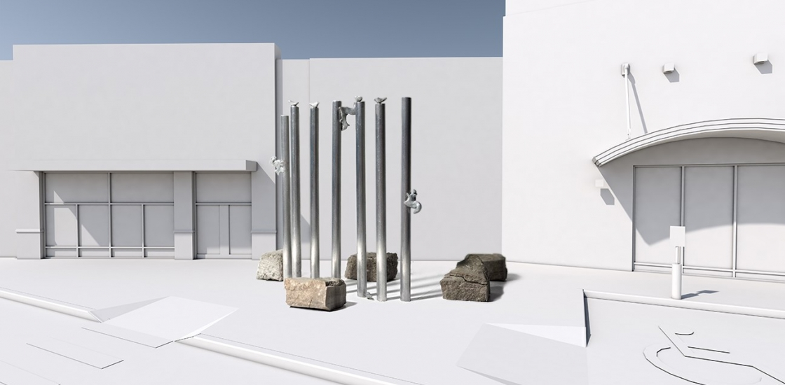 Photo of Sculpture Maquette, silver poles with birds