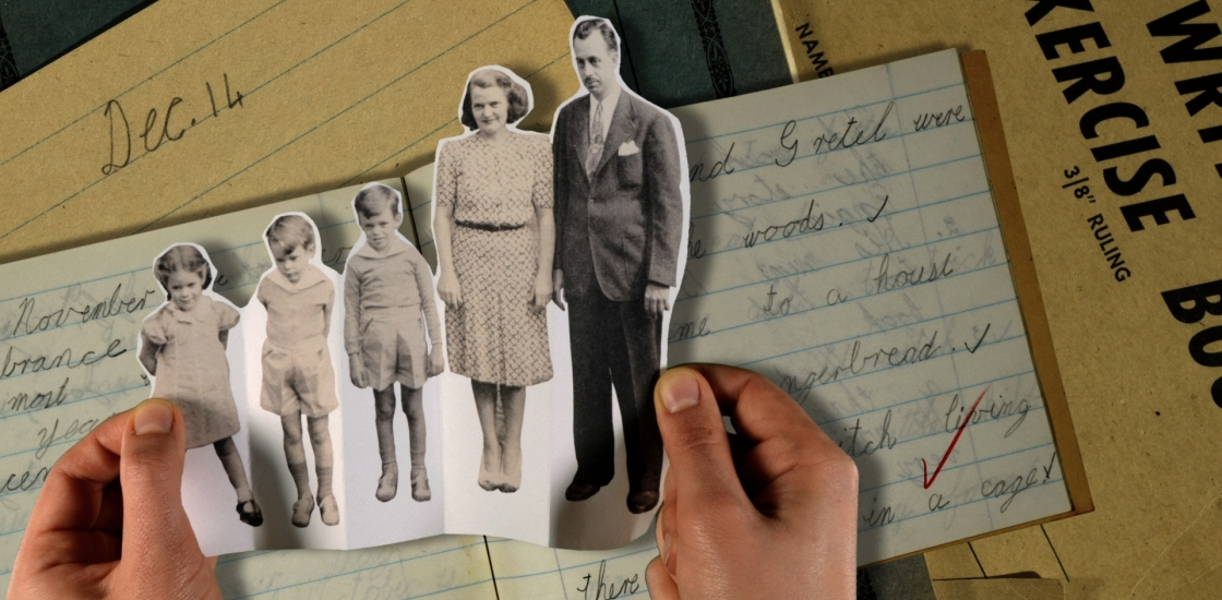 Multimedia artwork with cutout of a family portrait