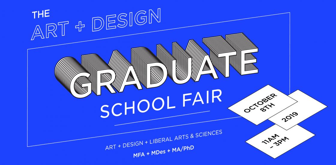 Graduate School Fair 2019 Poster Image in Blue