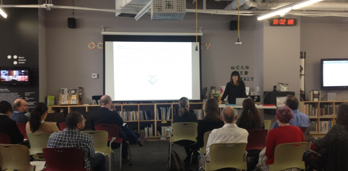 Corina MacDonald presents at OCADU's 2015 Open Access Week event