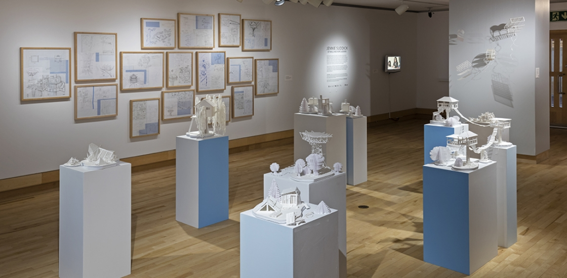 photo of Jennie Suddick's paper sculptures on exhibition