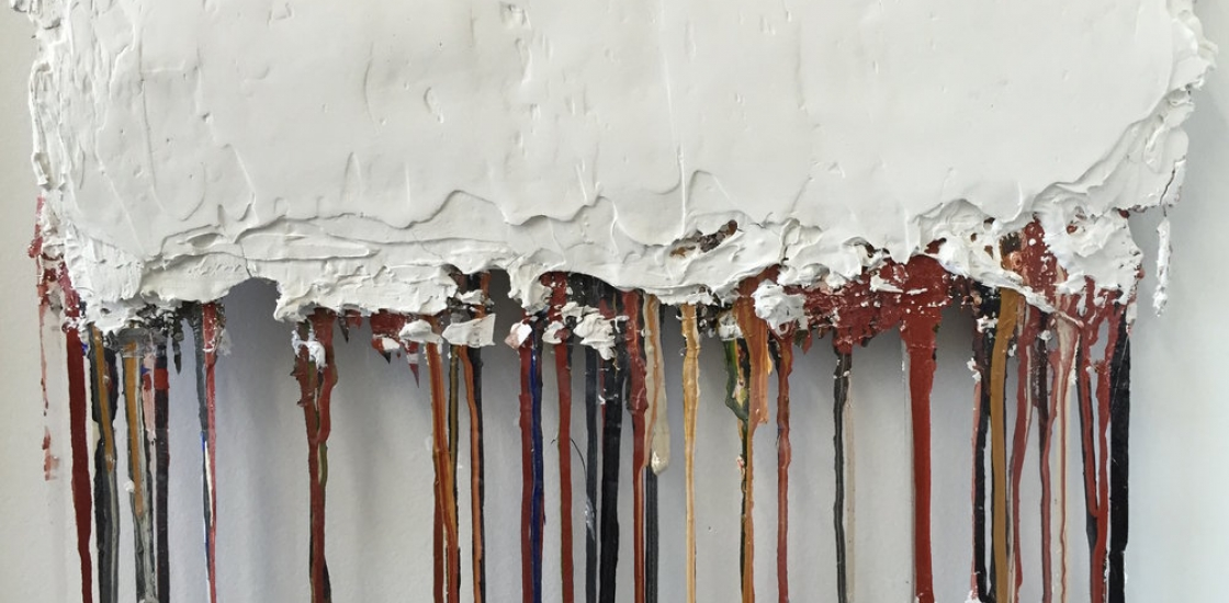 A Study in Time, 2015 Plaster, sand, acrylic, ink, paper, burlap and wire on canvas. 20 x  66 in