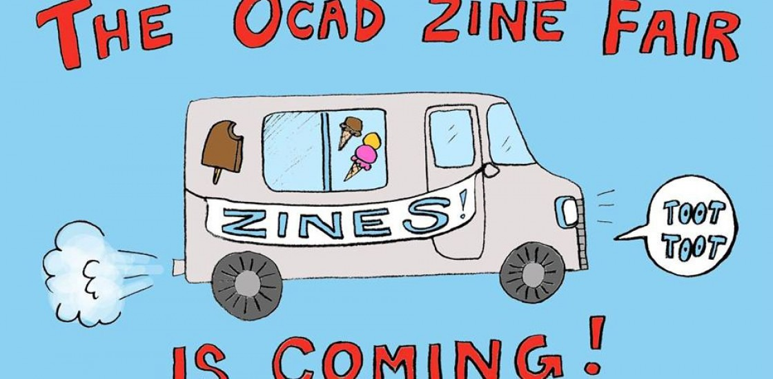 """A drawing of an ice cream truck with a sign on it that says """"Zines!"""". Text: The OCAD ZIne Fair is coming."""