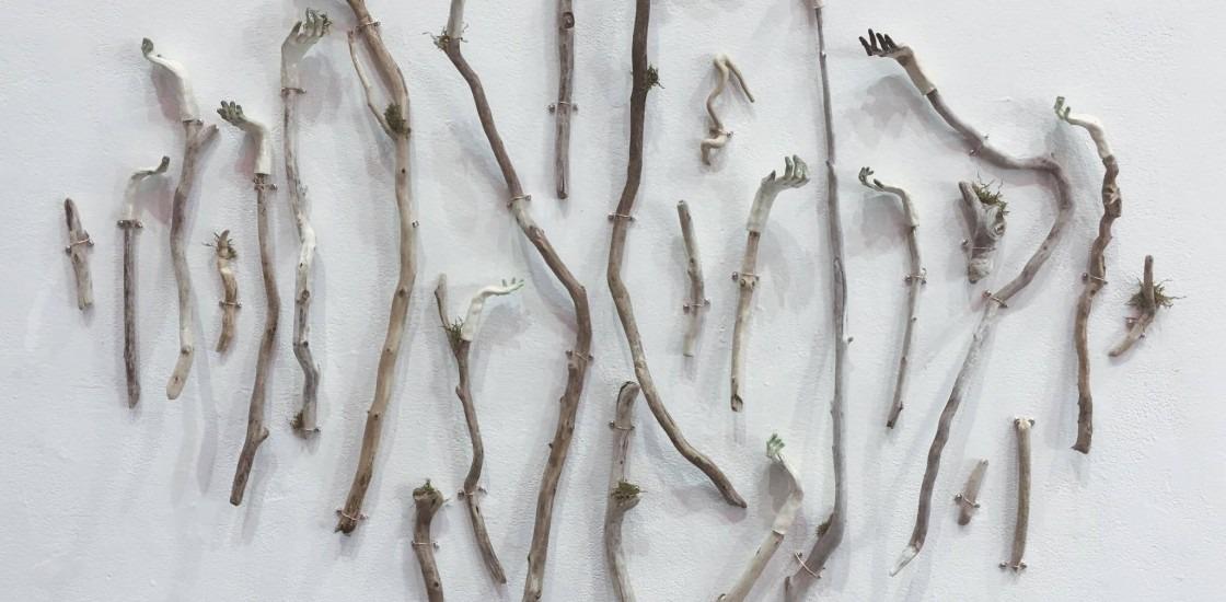 sticks on a white wall