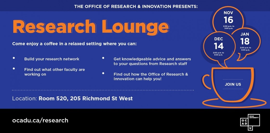 Research Lounge poster - white text on blue background with the dates as listed on website.