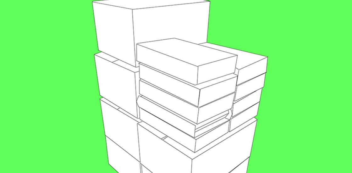 An image of white geometric blocks stacked in the center of a flourescent green background.