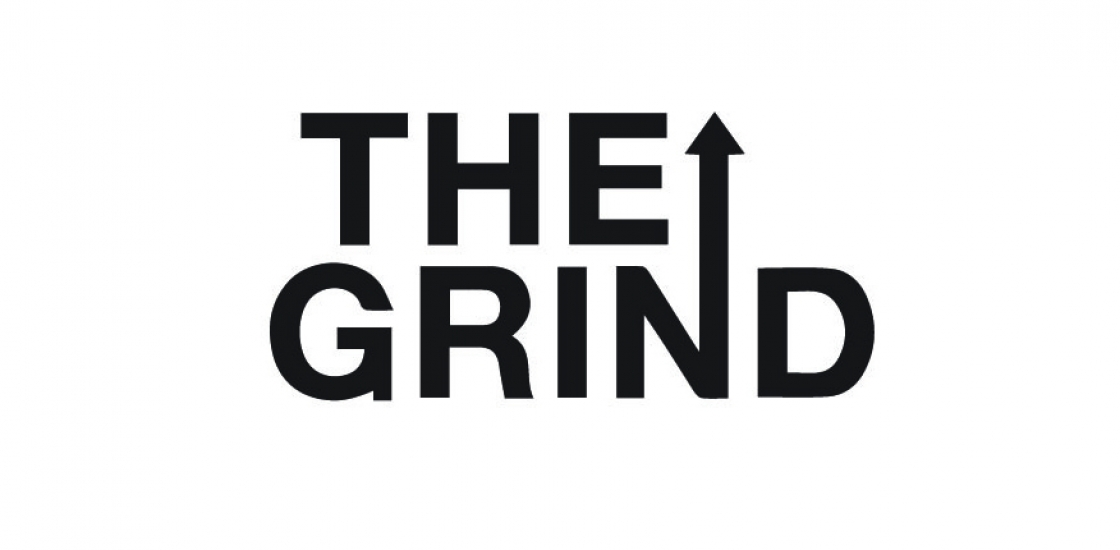 The Grind logo with arrow pointing up