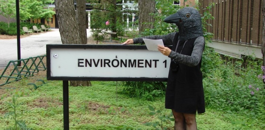 """Image from project poster featuring a bird-headed figure standing beside a sign which reads """"environment 1"""""""