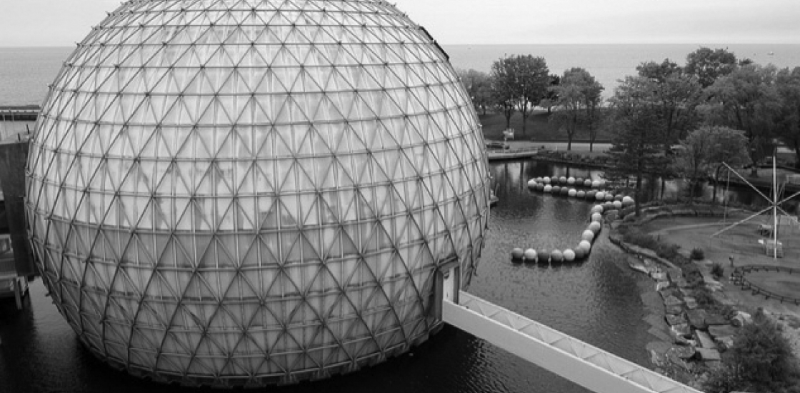 Black and White Photo of the Ontario Place structure