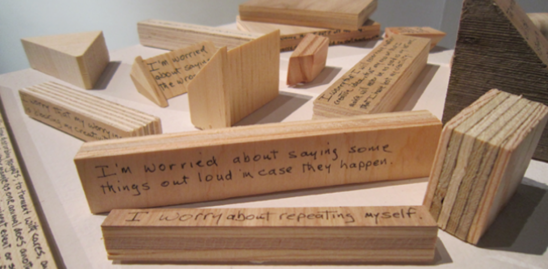 Wooden blocks with text