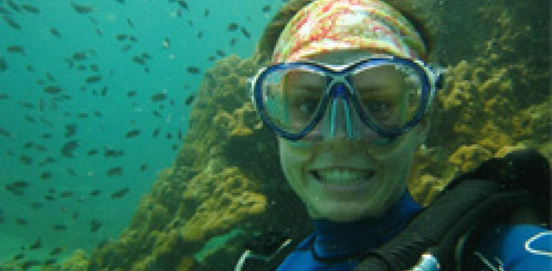 photo of woman scuba diving