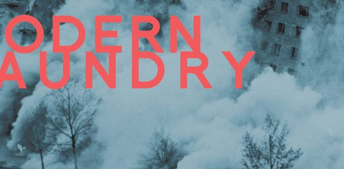 Modern Laundry text on cloudy background