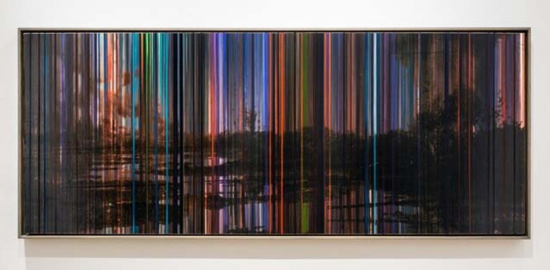 photo with multi coloured stripe overlay