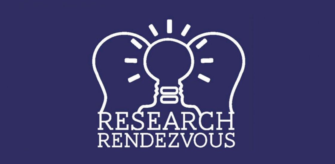 Research Rendezvous Logo. Abstract line drawing of two faces coming together to form a lightbulb.