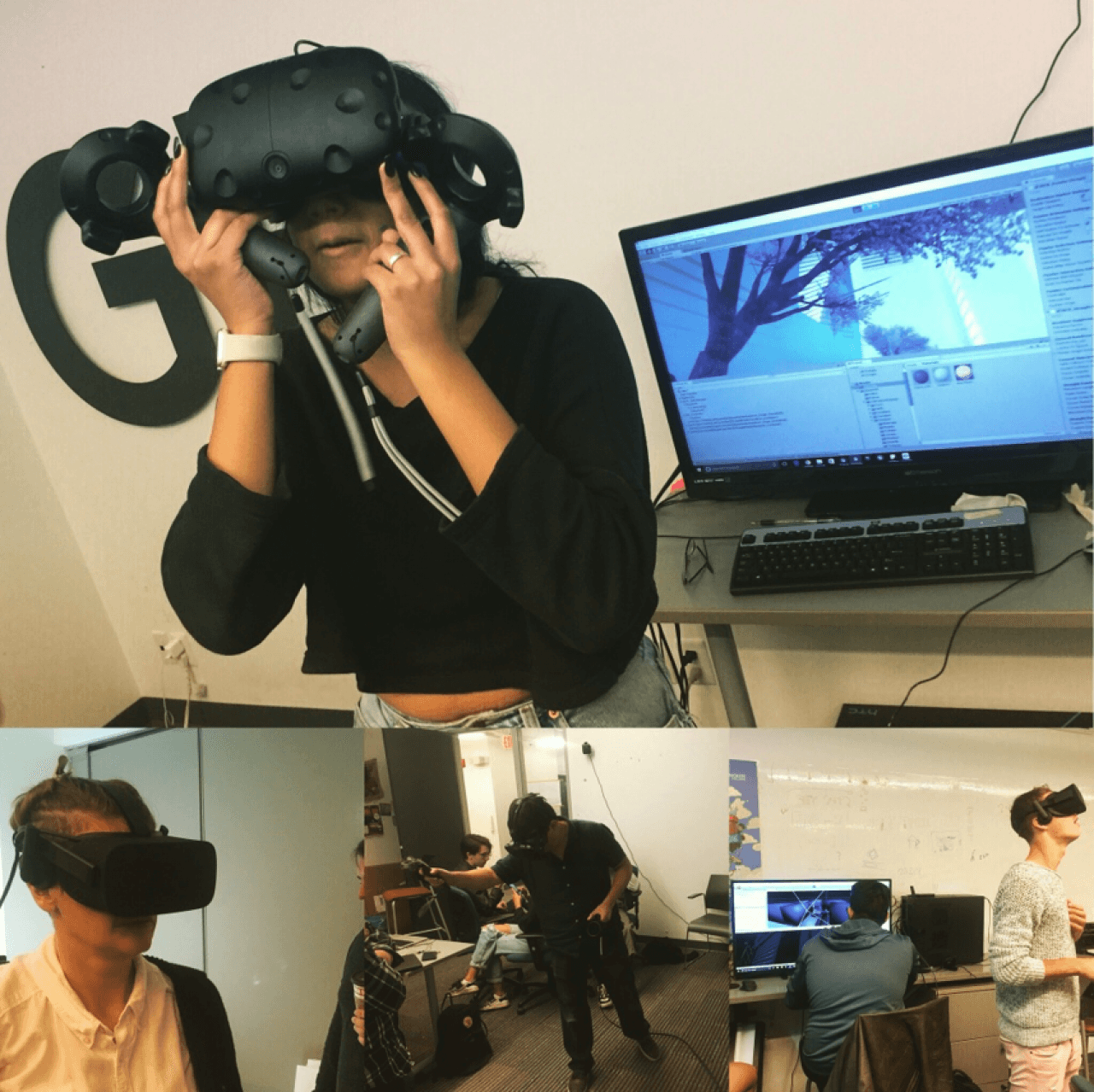 Photographs of immersants interacting with VR technology