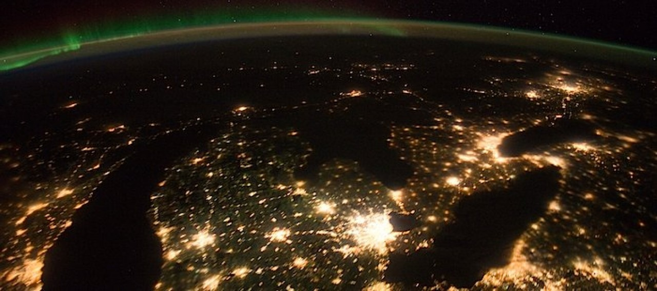 A photograph of Southern Ontario at night taken from the International Space Station