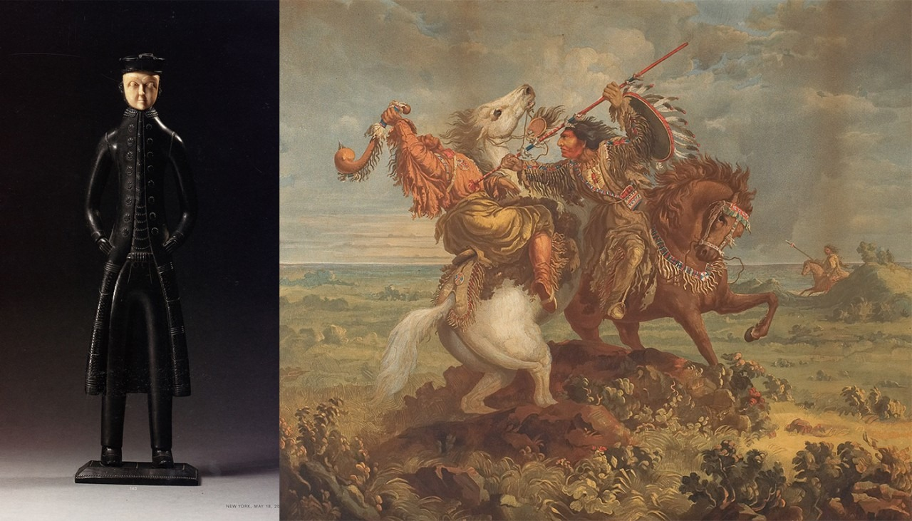 """Image of Paul Kane painting juxtaposed against an ivory Haida carving of a """"Sea Captain Figure"""""""