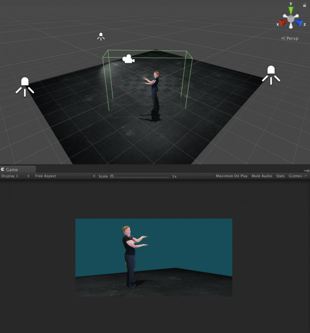 A screenshot of volumetric capture of a figure