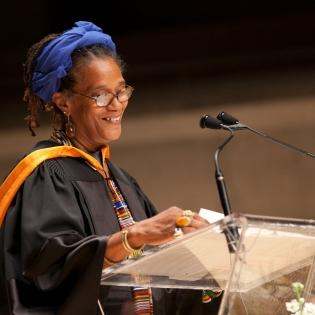 Winsom Winsom accepting an Honorary Degree from OCAD U; Photo: Christina Gapic