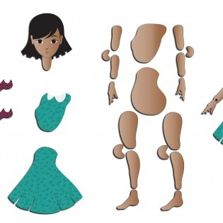 Illustration of parts of a paper puppet, including a woman's head, a bear head, arms, legs, torso, dress parts and shoes