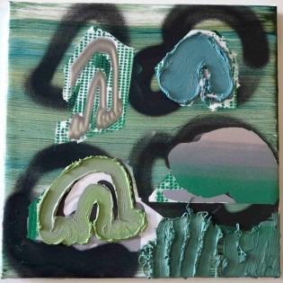 globular paint masses on canvas