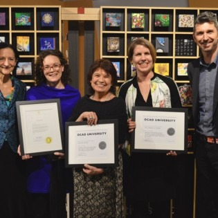 Dr. Sara Diamond, Kate Sellen, Bonnie Devine, Gabrielle Moser and VPRI Robert Luke at the Celebration of Research 2018.
