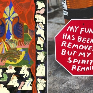 Left: Eryn Loughheed illustration. Right: Owen Marshall stop sign work. Images Courtesy of the Artists.