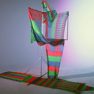 Dream House, Expanded animation installation: Metal frame, machine-knit textiles, strobe lights – loop (20:00), 2016