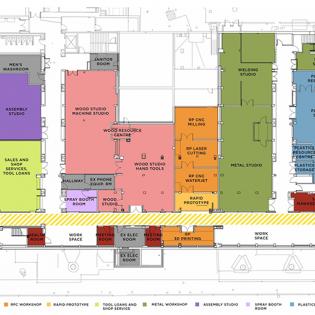Floor plate diagram of new Fabrication Studio layout