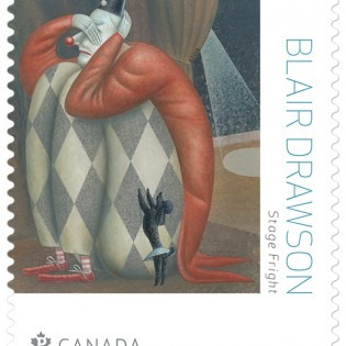 Stamp with the image of a crouching harlequin