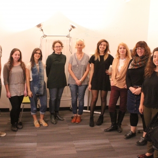 Lorna Ross with Design for Health Students and Dr. Kate Sellen, Graduate Program Director