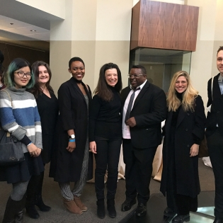 Group photo of students with Isaac Julien, Sara Diamond and Carol Weinbaum
