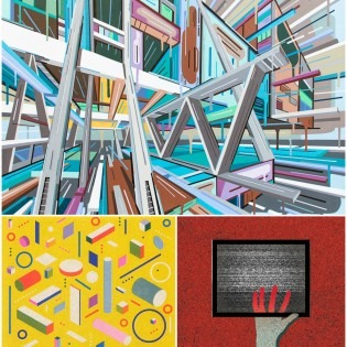 Three images put together, abstract in blues and pinks, a yellow illustration and a hand in a square
