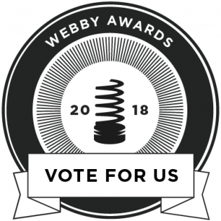Circle with words webby awards vote for us