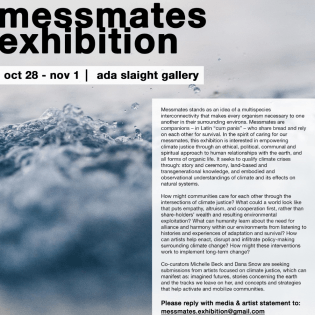 Messmates: Call for Artists Submissions poster with details and a photo of clouds