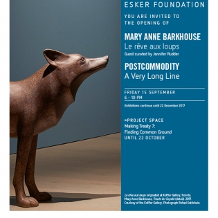 Mary Anne Barkhouse, Le reve aux loups poster.  text and image of a sculpture of a dog