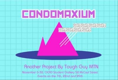 CONDOMAXIUM poster with event info and neon pink mountain with glitchy rectangles against blue grid background.