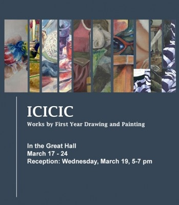 ICICIC poster with event info and vertical slices of several student paintings arranged horizontally