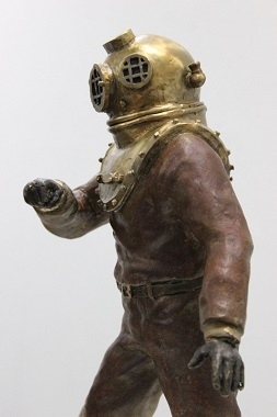sculpture of a scuba suit