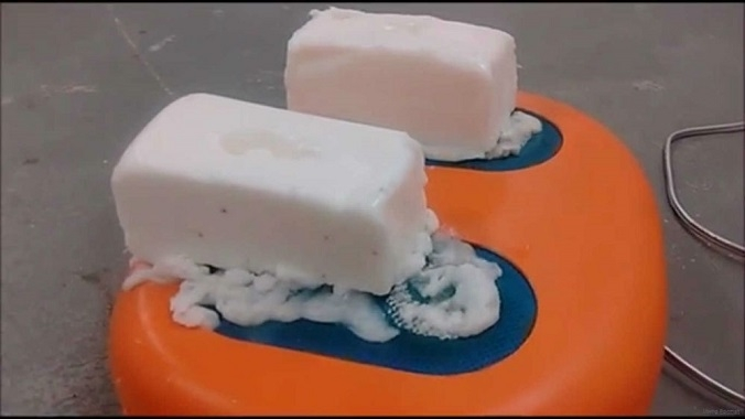 two soap like sculptures