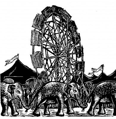 Circus elephants in front of Ferris wheel and tents